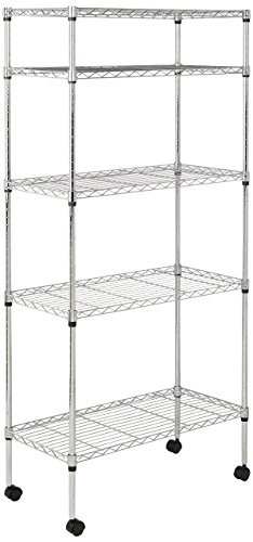 AmazonBasics 5-Shelf Shelving Unit on Wheels - - Units Storage Wire