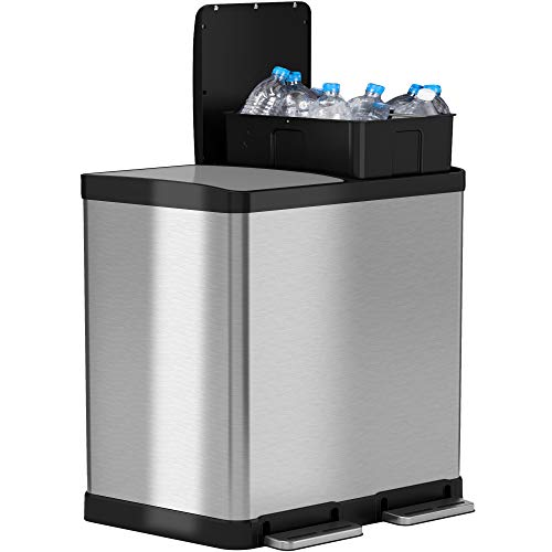 iTouchless SoftStep Dual Compartment Trash Can Recycler, 16 Gallon / 61 Liters, Stainless Steel, 2 x 8 Gallon Removable Inner Buckets