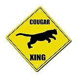 BBHUHU Cougar Crossing Metal Aluminum Novelty Sign 6 in x 6 in
