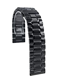 22mm Stainless Steel Quick Release Watch Band Strap Bracelet For Samsung Gear S3 Frontier / Pebble Time / Zenwatch 2 (Black)
