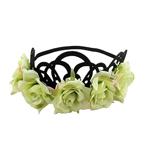Wreath Headband Flower Wreath Woman Girls Floral Crown Tiaras Headband Red Rose Flower Bride Hairbands Party Hair Accessories,B