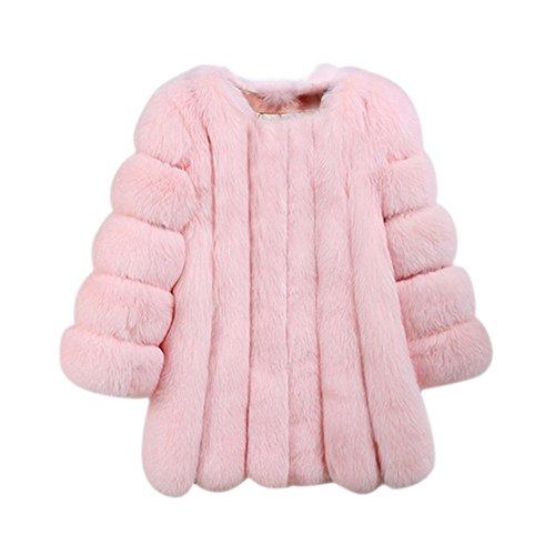 Froomer Women's Winter Thick Outerwear Warm Long Fox Faux Fur (Fox Fur Coat)