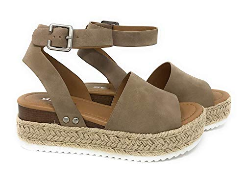 SODA Topic Women's Open Toe Ankle Strap Espadrille Sandal,Natural Nubuck,7.5