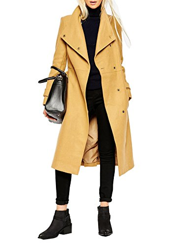 JollyChic Women's Single Breasted Stand Collar Winter Long Trench Coat with Belt (Designer Trench Coat)