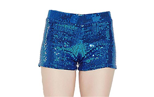 Gele Women Sexy Club Wear Metallic Booty Shorts Hot Glitter Sequin Shorts (X-Large, Blue)