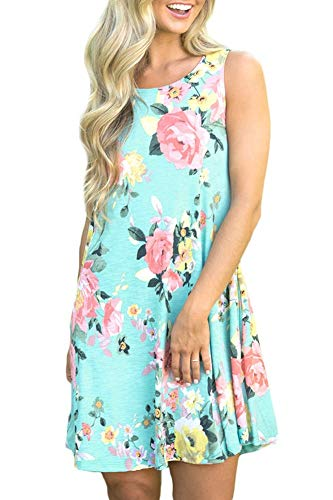 Women Cotton Summer Floral Tank Dress Sleeveless Casual Beach Mini Sundress with Pockets Green 2XL