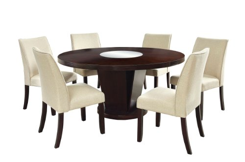 Furniture of America Telstars 7-Piece Round Table Dining Set, Espresso (6 Piece Round Set)