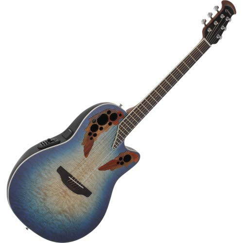 (Ovation Celebrity Collection 6 String Acoustic-Electric Guitar, Right, Regal to Natural Quilted, Super Shallow Body (CE48P-RG))