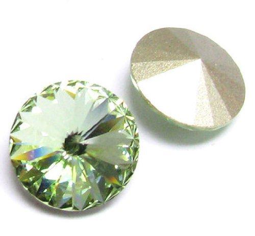 (2 pcs Swarovski 1122 Crystal Round Rivoli Stone Silver Foiled Chrysolite 14mm / Findings / Crystallized Element )