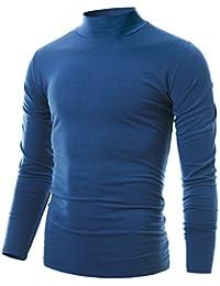 Mens Slim Fit Soft Cotton Pullover Light Turtleneck