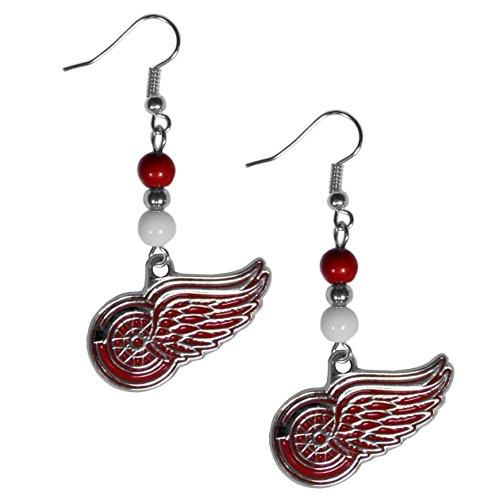NHL Detroit Red Wings Fan Bead Dangle Earrings