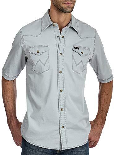 Wrangler Mens Western Pigment Dyed Snap Short Sleeve Shirt Large Wet Weather - Sleeve Short Shirt Wrangler Western