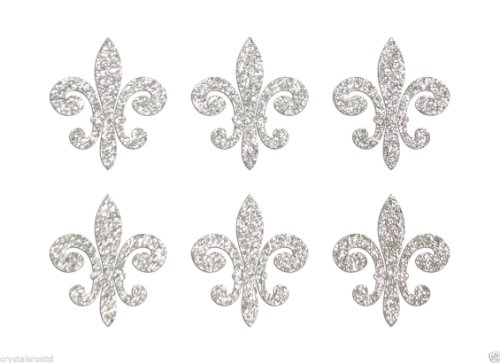 24 Silver Fleur De Lis Fabric Glitter Iron-On Fabric Transfer applique 1 inch ()