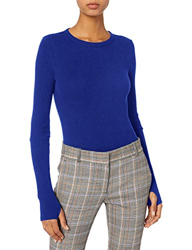 Enza Costa Women's Cashmere Thermal Long Sleeve Cuffed Crew Top with Thumbholes