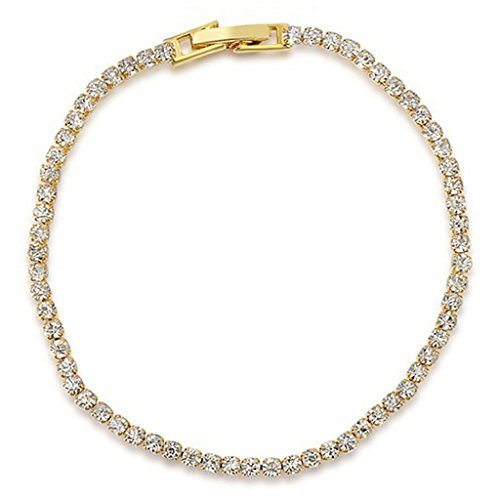 (Aeici Jewelry, Yellow Gold Plated Austrian Crystal White Bracelet for Women Mother Channel Charm,18CM )