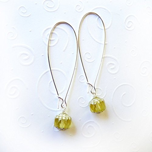 Round Kidney Wire Earrings (Peridot Faceted Crystal Cathedral Beads & .925 Sterling Silver-Filled Elegant Long Kidney Style Earrings - Beautiful Handmade Gift for Women, Teens, Girlfriend, Wife - On Sale for the)