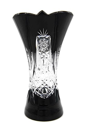 KARDAS CRYSTAL (TM) BOHEMIA LEADED CRYSTAL GLASS CLAREMONT VASE (Small, Midnight Black) (Glass Claremont)