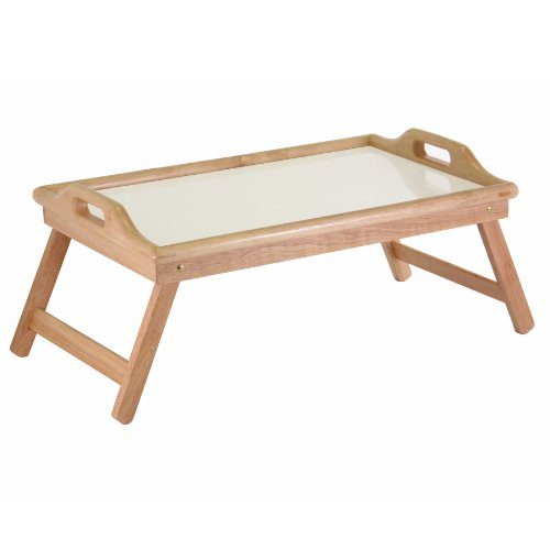 Winsome Wood Breakfast Bed Tray with Handle Foldable Legs (Tray For Bed Breakfast)
