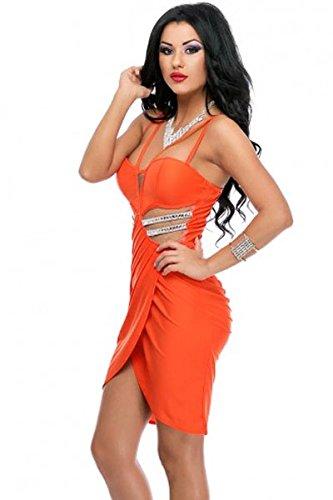 Neue Damen Orange Strappy Wrap Kleid Midi Kleid Club Wear Abend Party Sommer Kleider Größe L 12