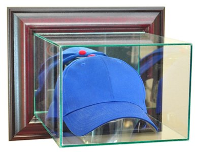 Perfect Cases MLB Wall Mounted Cap/Hat Glass Display Case, Cherry - Mlb Baseball Cap Display Case