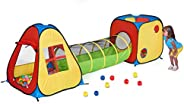 UTEX 3 in 1 Pop Up Play Tent with Tunnel, Ball Pit for Kids, Boys, Girls, Babies and Toddlers, Indoor/Outdoor
