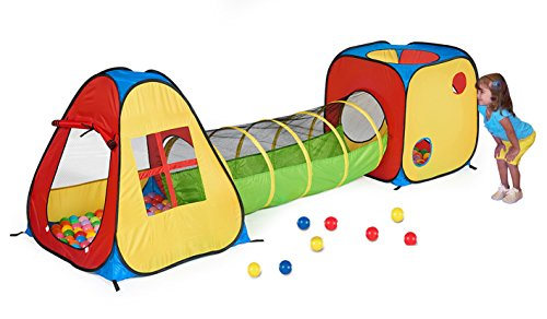 UTEX 3 in 1 Pop Up Play Tent with Tunnel, Ball Pit for Kids, Boys, Girls, Babies and Toddlers, Indoor/Outdoor Playhouse -