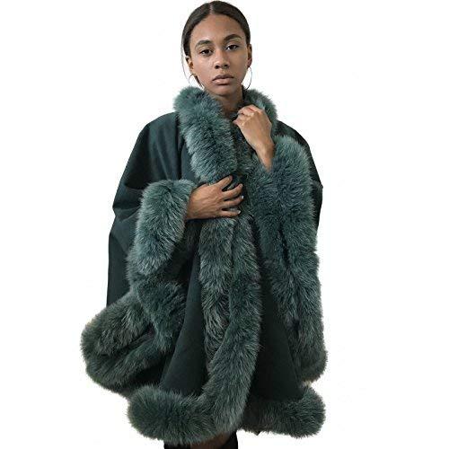 Poncho Cape Coat cashmere fox fur trim