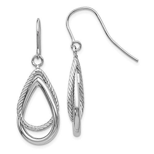(14k White Gold Textured Teardrop Shepherd Hook Drop Dangle Chandelier Earrings Fine Jewelry Gifts For Women For Her)