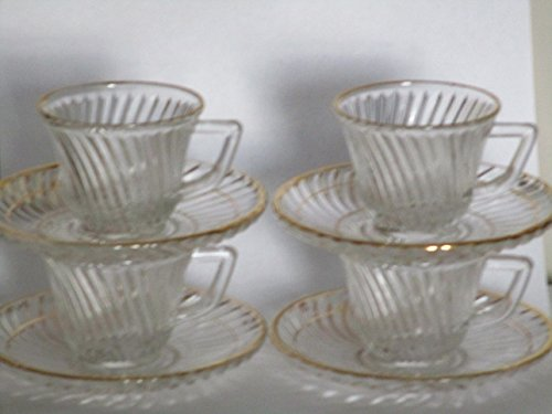 Diana Depression Ware Demitasse Cup and Saucer Clear w/Gold Trim Set of 4 ()