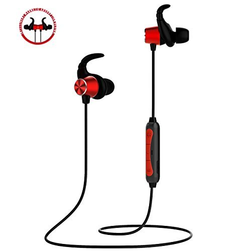 Bluetooth Headphones,POWERbeast Wireless in Ear Sports Earbuds with Magnetic Aluminum Design and IPX5 Sweatproof,Secure Fit Earphones for Running Workouts Gyms,6Hours Pay Time(Red)
