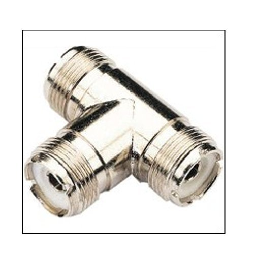 Pro Trucker Dual Cable T Connector - SO-239 to SO-239 Allows Use of Dual Antennas into a Single Transceiver (Single Coax)