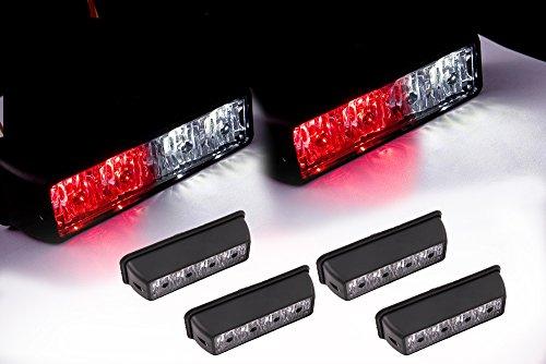 VSEK 4X White/Red 4LED 4W Vehicle LED Emergency Strobe Deck Grille Police Strobe Warning Light for 12-24v SUV Tow Fire Truck RV Van