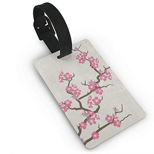 (Gangdongquz Luggage Tags Pink Cherry Blossom Flower Trendy Baggage Name Tag Holder Labels Material PVC)