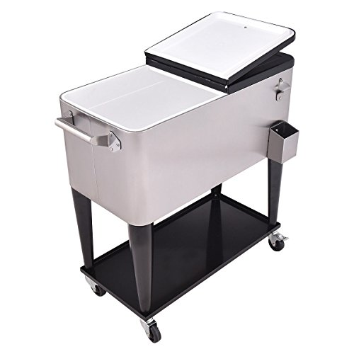 Giantex Patio Cooler Rolling Cart Outdoor Portable Stainless Steel Ice Beverage Chest Pool with Bottle Opener, 80 Quart by Giantex (Image #2)