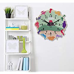 BEZIT Non-Ticking, Silent 11-Inch Wall Clock - Decorative, Modern, Clean, Cute, Kid-Friendly Design for Indoor, Office, Home, Baby Room (Happy Dinosaur)