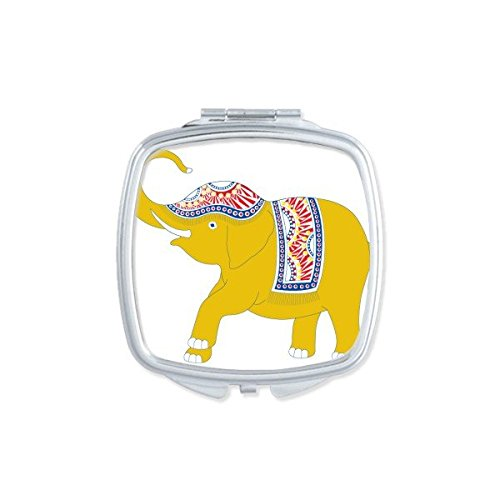Kingdom of Thailand Thai Traditional Customs Culture Made in Thailand Yellow Elephant Shield Art Illustration Square Compact Makeup Pocket Mirror Portable Cute Small Hand Mirrors by DIYthinker