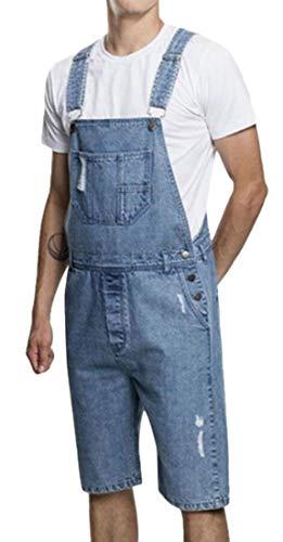[해외]pujingge 남성 죄수 복 스트랩 찢어진 패션 슬림 턱 받이 데님 반바지 바지 / pujingge Mens Jumpsuit Strap Ripped Fashion Slim Bib Denim Shorts Overalls