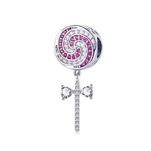 925 Sterling Silver Pink Zircon Sweet Lollipop Candy Pendant Charms fit for Women Bracelets Bangles DIY Jewelry