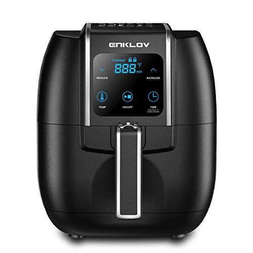 ENKLOV 8 in 1 Air Fryer with Digital Display Control,XL 5.5QT Oil Less Airfryer Oven,1350W Electric Power Air Cooker,Come with Recipe Guide