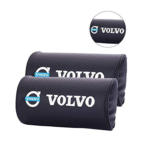 (JSAMZ 2PCS blac kwaterproof Breathable Carbon Fiber Neck Brace, Head Pillow, Neck Pillow, Effective Breathable, Memory Sponge, Soothing Impact, Exquisite Embroidery Logo (Volvo))