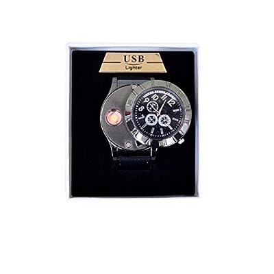 ABBY usb briquet de charge montre la personnalité créative hommes avec vrai montre en métal léger