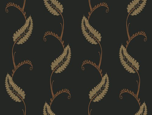 Waverly 5513023 20.5-Inch Wide Geddy House Leaf Wallpaper, Black and Brown