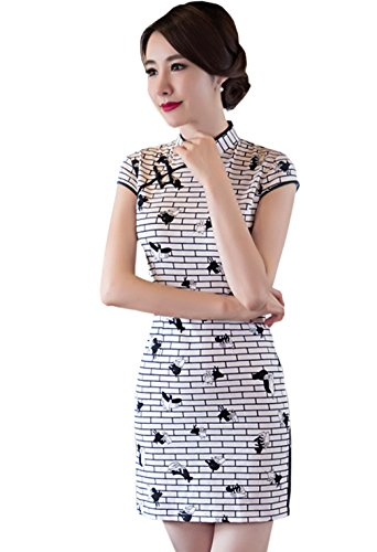YueLian Womens Short Sleeves China Traditional Dress Mini QiPao 3 Colors (China XL= US 8, white and black lattice) - Traditional Lattice