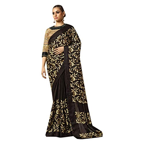 Black Gorgeous Stylish Party Wear Plain Saree with Border Festival Sari Indian Silk Handwork Blouse 7444