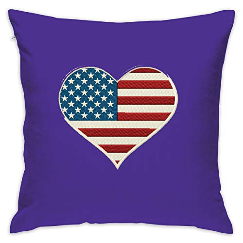 Ggccdy White Celebrate Freedom Patriotic Heart 4th of July Throw Pillow Cover,18