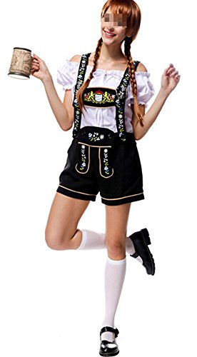 Women Oktoberfest Costume (Womens Oktoberfest Costume Bar Maid Cosplay Embroidered uniforms)