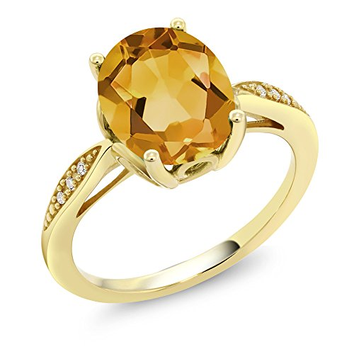 Gem Stone King 14K Yellow Gold Yellow Citrine and Diamond Women's Ring 2.04 Ct Oval Gemstone Birthstone (Size 6)