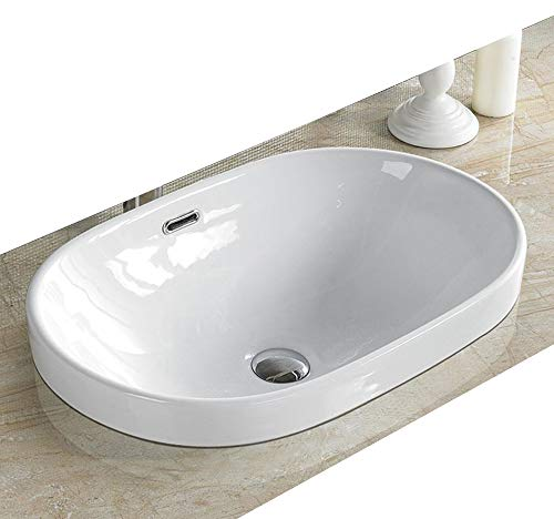 (Elimax's Bathroom Semi-Recessed Porcelain vessel drop-in Sink Self-Rimming & Free Chrome Overflow Pop Up Drain SR-5006C)