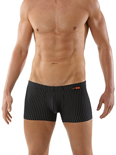 ALBERT KREUZ men's slimfit boxer brief of soft and breathable microfiber black with thin pinstripes - Macys Wellington
