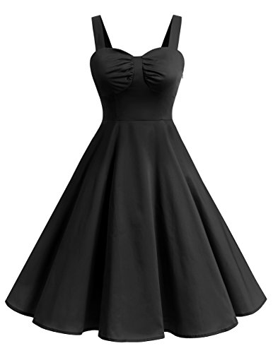 DRESSTELLS 1950s Retro Audrey Swing Pinup Rockabilly Dress Pleated Vintage Dress Black S for $<!--$24.99-->